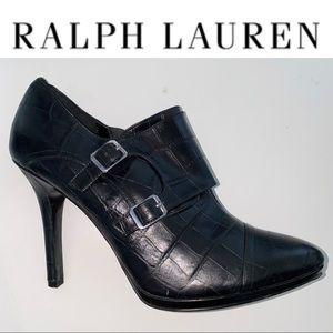 Ralph Lauren Heeled Black Leather Ankle Booties 10